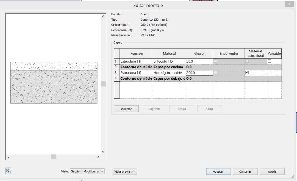 Configuración de capas suelo compuesto en revit