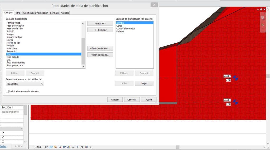 Cálculo de corte y relleno de superficie en Revit
