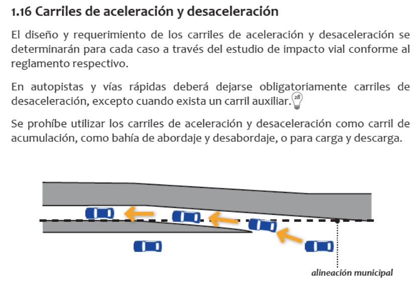 carril de desaceleracion